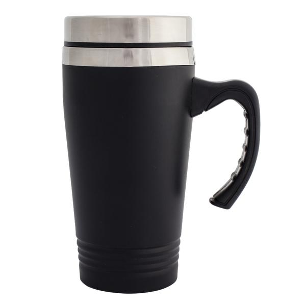 czarny kubek stalowy z logo